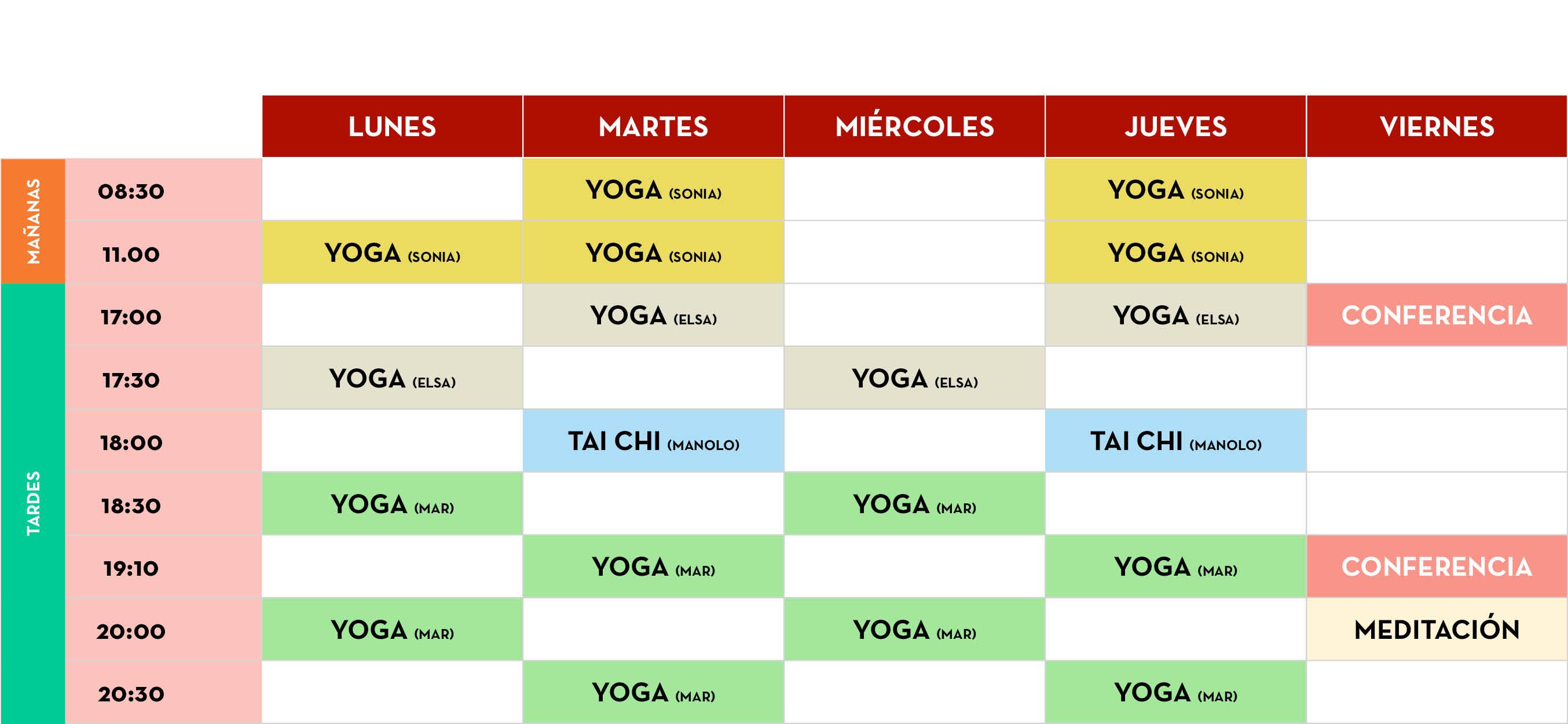 horarios yoga en valladolid, liashi valladolid, actividades, tai chi, meditación