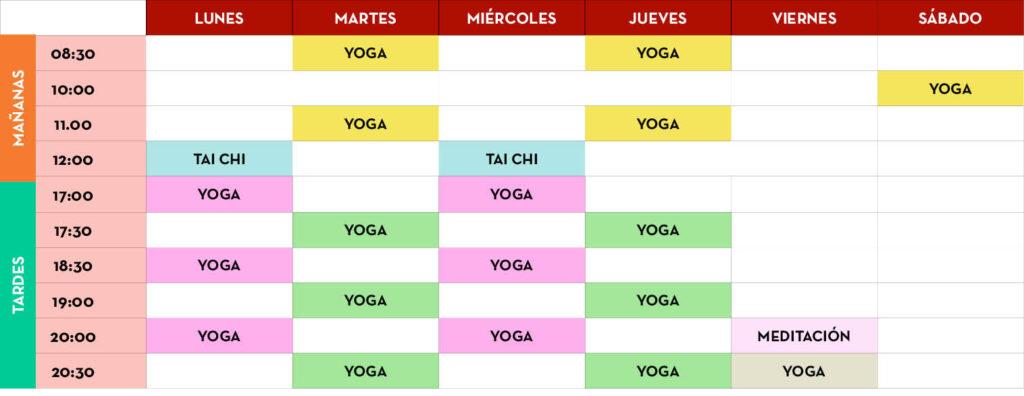 horarios de nuestras clases de yoga, taichi y meditación en Liashi valladolid